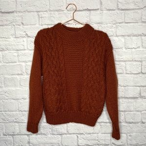 VINTAGE | Burnt Orange Cable Knit Chunky Sweater